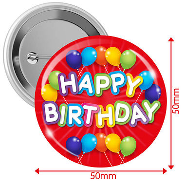 Happy Birthday Badges - Red (10 Badges - 50mm)