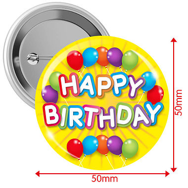 'Happy Birthday' Badges - Yellow (10 Badges - 50mm)