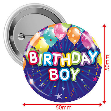 'Happy Birthday' Boy Badges - Blue (10 Badges - 50mm)