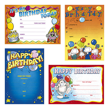 Happy Birthday Certificates (20 Certificates - A5) Brainwaves