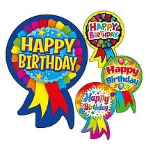 Happy Birthday Rosette Stickers (25 Stickers - 54mm x 37mm)