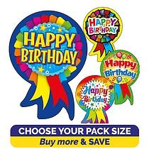 Happy Birthday Rosette Stickers (54mm x 37mm) Brainwaves