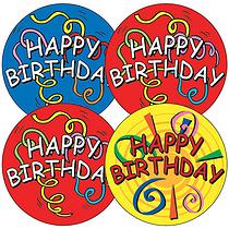 Happy Birthday Stickers - Streamers (35 Stickers - 37mm)