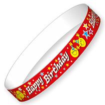 Happy Birthday Wristbands (10 Wristbands - 220mm x 13mm) Brainwaves