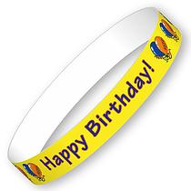 Happy Birthday Wristbands (10 Wristbands - 265mm x 18mm)