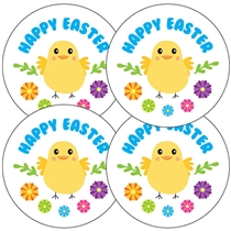'Happy Easter' Chick Stickers (35 x 37mm)