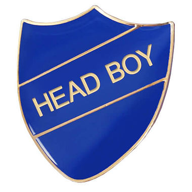 Head Boy Enamel Badge - Blue (30mm x 26mm)