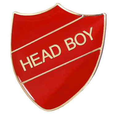 Head Boy Enamel Badge - Red (30mm x 26mm)