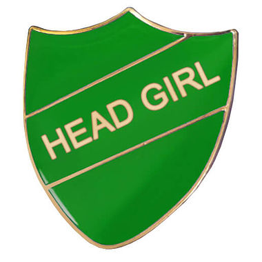 Head Girl Enamel Badge - Green (30mm x 26mm)