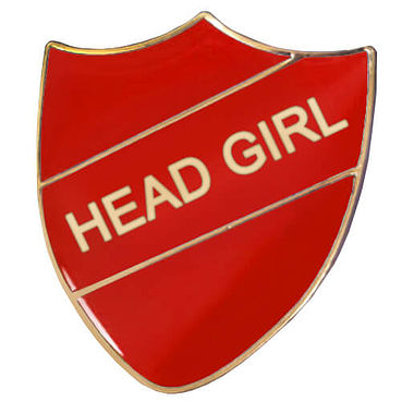 Head Girl Enamel Badge - Red (30mm x 26mm)