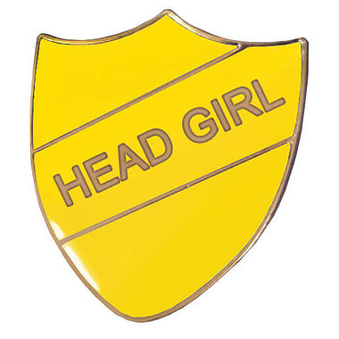 Head Girl Enamel Badge - Yellow (30mm x 26mm)