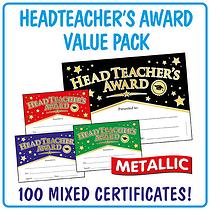 Head Teacher's Award Foil Certificates Value Pack (A5 - 100 Certificates)