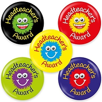 Headteacher's Award Badges - Maxipack (40 Button Badges - 38mm) Brainwaves