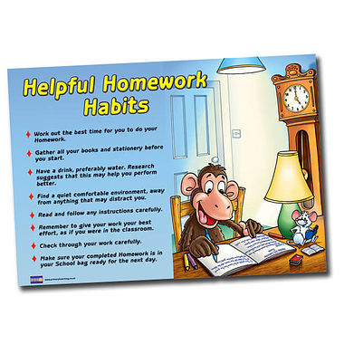 Helpful Homework Habits Plastic Poster (A1 Sized)