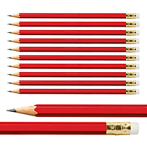 Hexagon Pencils - Red (10 per Pack)