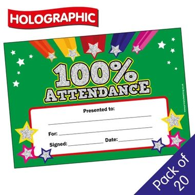 Holographic 100% Attendance Certificates (20 Certificates - A5)