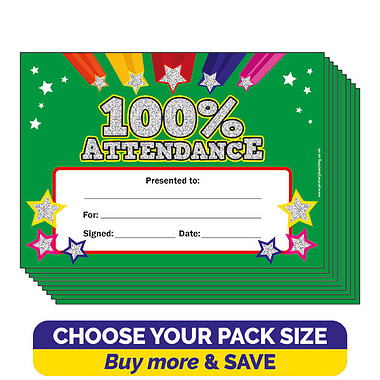 Holographic 100% Attendance Certificates (A5)