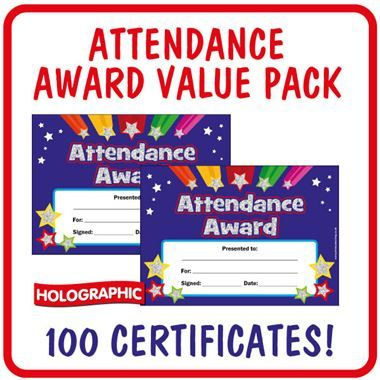 Holographic Attendance Award Certificates Value Pack (100 Certificates - A5)