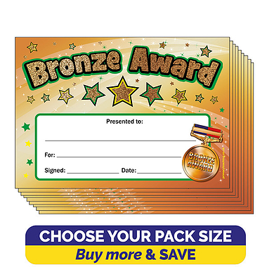 Holographic Bronze Award A5 Certificates