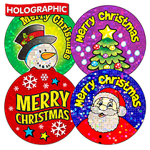 Holographic Christmas Stickers (36 Stickers - 35mm)