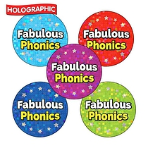 Holographic 'Fabulous Phonics' Stickers (30 Stickers - 25mm)