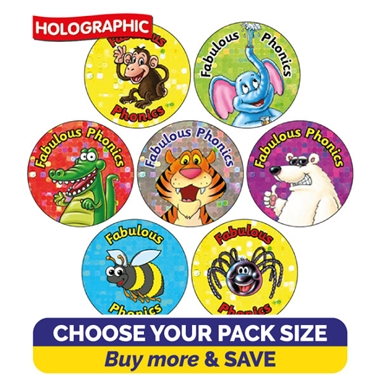 Holographic Fabulous Phonics Stickers Value Pack (20mm)