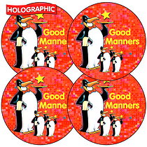 Holographic Good Manners Penguin Stickers (35 Stickers - 37mm)