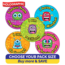 Holographic Growth Mindset Stickers (25mm)