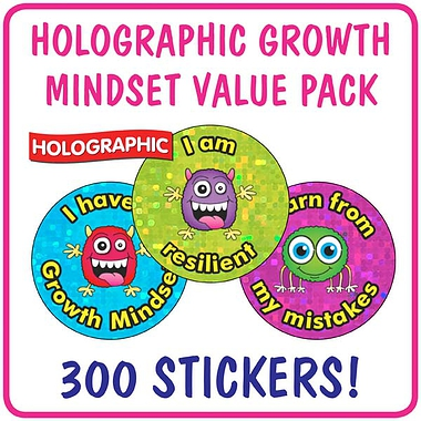Holographic Growth Mindset Stickers Value Pack (300 Stickers - 25mm)