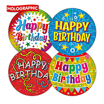 Holographic Happy Birthday Stickers (20 Stickers - 32mm)