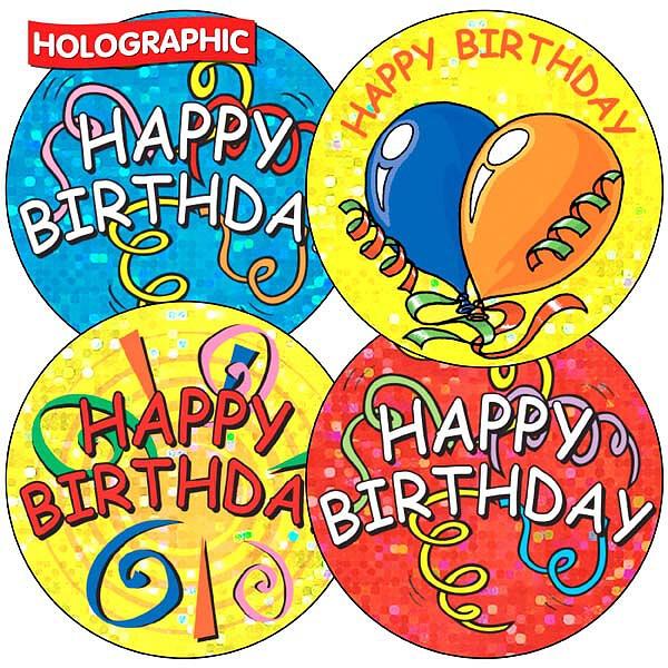 Holographic Happy Birthday Stickers