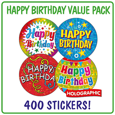 Holographic Happy Birthday Stickers (400 Stickers - 32mm)