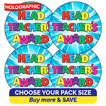 Holographic Head Teacher's Award Stickers (37mm)