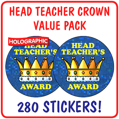Holographic Head Teacher's Award Stickers Value Pack (280 Stickers - 37mm)