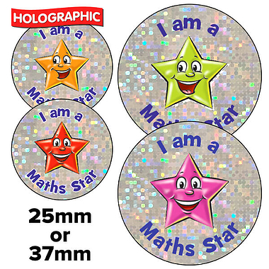 Holographic I am a Maths Star Stickers - Star