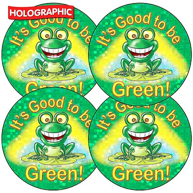 Holographic It's Good To Be Green Stickers (35 Stickers - 37mm)