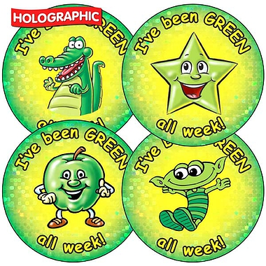 Holographic I've been Green all week Stickers (35 Stickers - 37mm)
