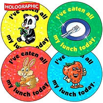 Holographic I've Eaten all my Lunch Stickers (35 Stickers - 37mm)