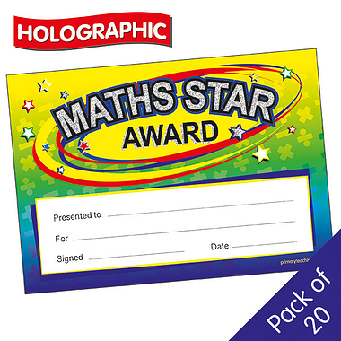 holographic maths star award certificates x 20 rewards