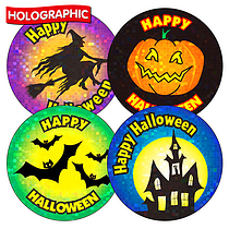 Holographic Mixed Halloween Stickers (36 Stickers - 35mm)
