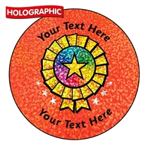 Holographic Personalised Rosette Stickers (72 Stickers - 35mm)