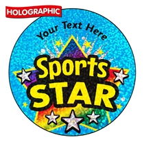 Holographic Personalised Sports Star Stickers (72 Stickers - 35mm)