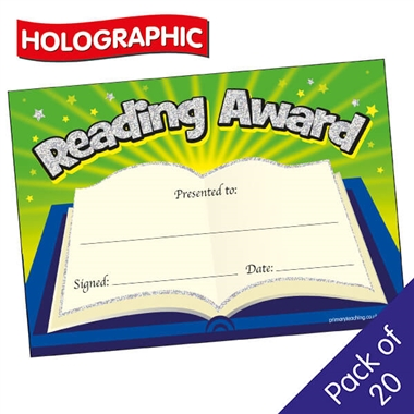 Holographic Reading Award Certificate (20 Certificates - A5)