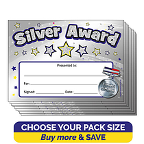Holographic Silver Award A5 Certificates