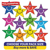 Holographic Smiley Star Stickers (140 Stickers - 20mm) Brainwaves
