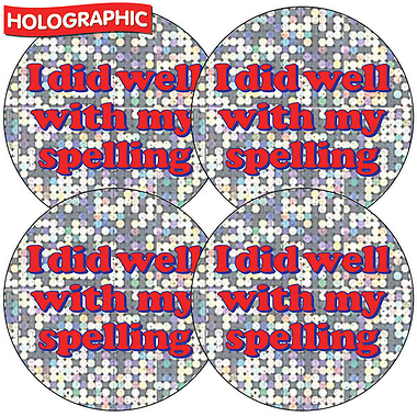 Holographic Spelling Sticker (35 Stickers - 37mm)