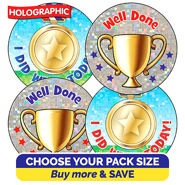 Holographic Sports Day Stickers (37mm)