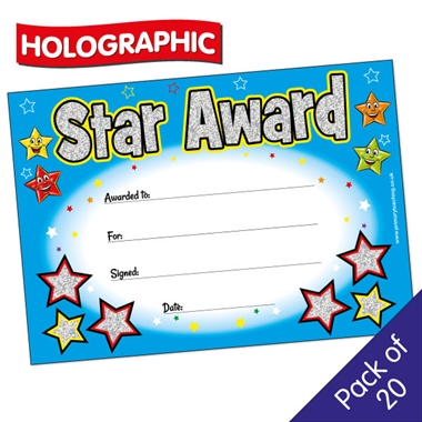 star award certificate holographic 20 per pack a5