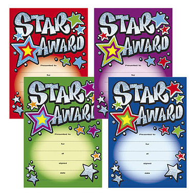 Holographic Star Award Certificates (20 Certificates - A5) Brainwaves
