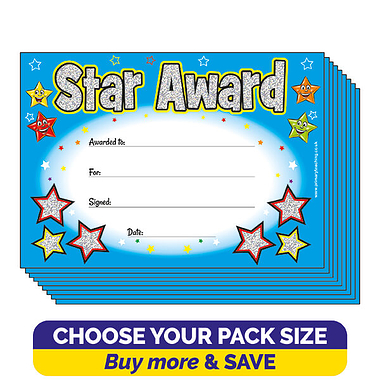 Holographic Star Award Certificates (A5)